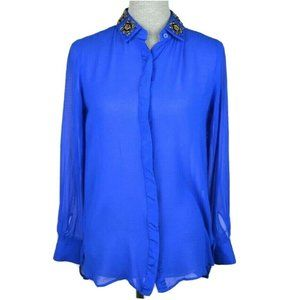 Royal Blue Sheer Long Sleeve Silk Button Down Top